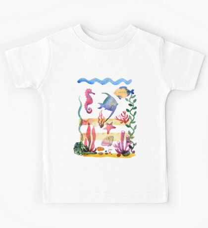 Set of different sea shells,corals and starfish. Watercolor illustration. Global color used. Kids Tee