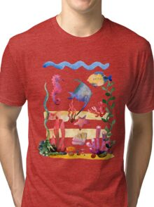 Set of different sea shells,corals and starfish. Watercolor illustration. Global color used. Tri-blend T-Shirt