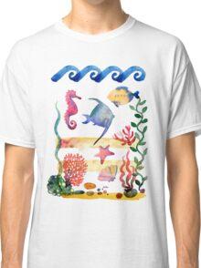 sea shells,corals and starfish. Watercolor illustration.  Classic T-Shirt