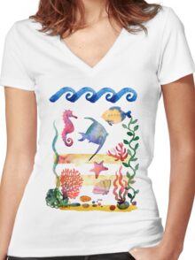 sea shells,corals and starfish. Watercolor illustration.  Women's Fitted V-Neck T-Shirt