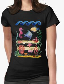 sea shells,corals and starfish. Watercolor illustration.  Womens Fitted T-Shirt