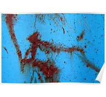 Lacerated corrosion in blue Poster