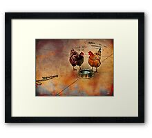 fowl language around the dog's bowl Framed Print