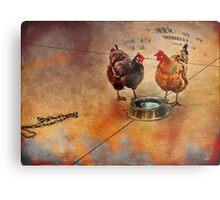 fowl language around the dog's bowl Metal Print