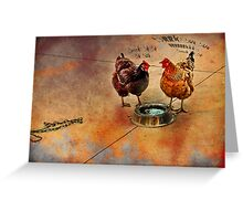 fowl language around the dog's bowl Greeting Card