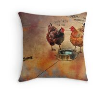 fowl language around the dog's bowl Throw Pillow
