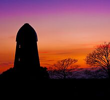 Ecclesden Mill, Angmering at sunset by Kevin  Poulton