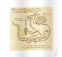 Dragon Holding Sword Etching Poster