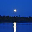 Moon rise over lake - take 2 by Chickapeek