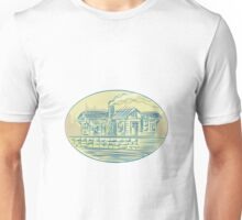 Log Cabin Resort Oval Etching Unisex T-Shirt