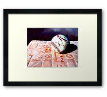 Baseball on Base 2 Framed Print