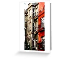 apartment houses in Istanbul neighborhood Greeting Card