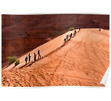 Racing to the top of a sand dune Poster
