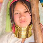 Teenage Girl in the Long Neck Karen Tribe village in Thailand by InterfaceImages