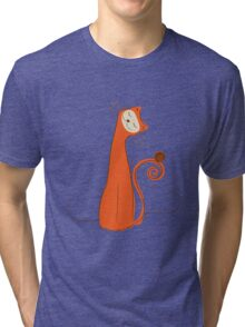 Cheerful Cat Silhouette Vector Art Tri-blend T-Shirt