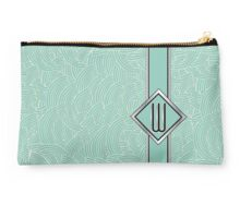 1920s Blue Deco Swing with Monogram letter W Studio Pouch