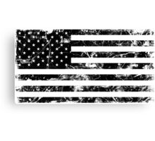 American Flag - Distressed (Black) Canvas Print