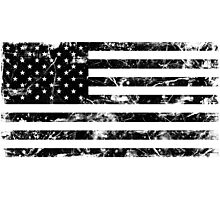 American Flag - Distressed (Black) Photographic Print
