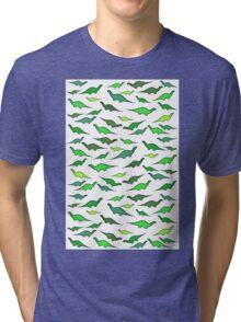 Dinosaurs (shades of green) Tri-blend T-Shirt