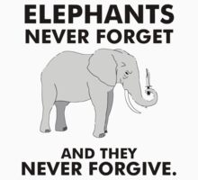 Angry elephant with knife in his trunk elephants never forget and they never forgive by funnyshirts