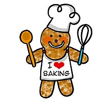 Gingerbread man cookie chef- I love baking by CuteCartoon