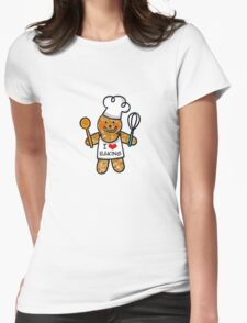 Gingerbread man cookie chef- I love baking Womens Fitted T-Shirt