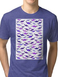 Dinosaurs (shades of purple) Tri-blend T-Shirt
