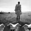 Massai and his herd. by Jean-Luc Rollier