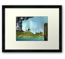 Surreal landscape face Framed Print