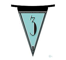 Manhattan 1920s Deco Blues Banner Pennant… number 3 Photographic Print