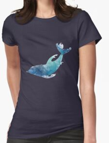 Watercolor playing dolphin Womens Fitted T-Shirt