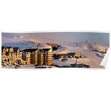 Panorama version of Hotham Village at dawn Poster