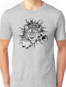 STUCK Snow Leopard (black paw pads) Unisex T-Shirt