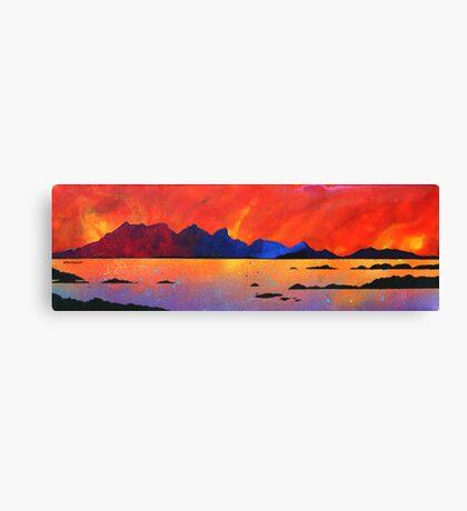 The Isle of Rum Winter Sunset, Scottish western Isles. Canvas Print