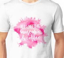 Mascara & Coffee - Pink Watercolor Unisex T-Shirt