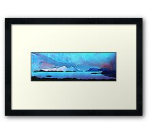 The Isle of Rum and Eigg from Sanna Bay, Scottish western Isles. Framed Print