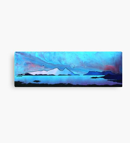 The Isle of Rum and Eigg from Sanna Bay, Scottish western Isles. Canvas Print