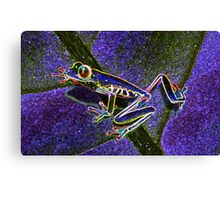 Pixel Art Neon Tree Frog Canvas Print