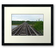 Railway Tracks ,Bridgeing The Gap  Framed Print