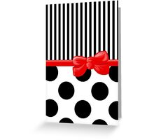 Ribbon, Bow, Polka Dots, Stripes - Black White Red Greeting Card