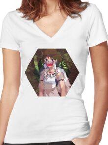 Princess Mononoke Hexagon Design Women's Fitted V-Neck T-Shirt
