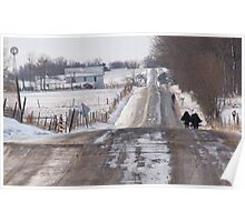 Amish children heading to school Poster