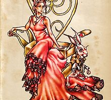 Queen of Hearts with White Rabbit on Vintage by ArtistryByLM
