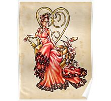 Queen of Hearts with White Rabbit on Vintage Poster