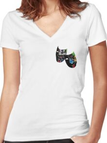 Theatre Masks Collage Women's Fitted V-Neck T-Shirt