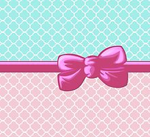 Ribbon, Bow, Quatrefoil Shape - Blue White Pink by sitnica