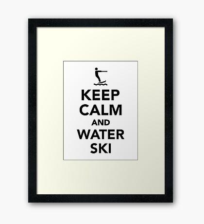 Keep calm and Water ski Framed Print