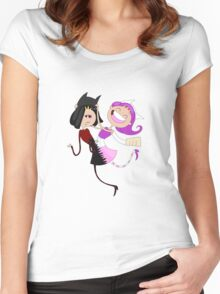Funny siamese twins fairies. Women's Fitted Scoop T-Shirt