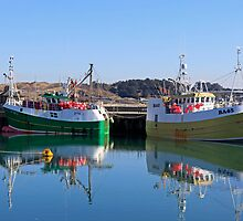 Fishing boats at rest Padstow harbour by Len  Pinner