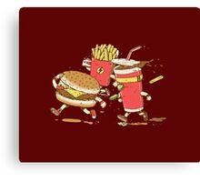Running hamburger, coca cola and fries FAST FOOD Canvas Print